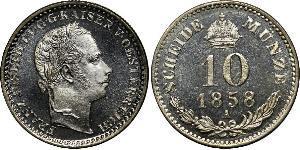 10 Kreuzer 奧地利帝國 (1804 - 1867) 銀 弗朗茨·约瑟夫一世 (1830 - 1916)