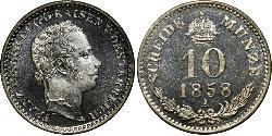 10 Kreuzer Imperio austríaco (1804-1867) Plata Franz Joseph I (1830 - 1916)