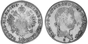10 Kreuzer Imperio austríaco (1804-1867) Plata