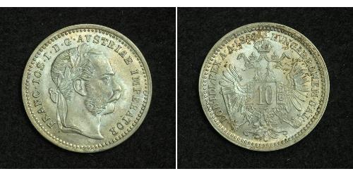 10 Kreuzer Imperio austrohúngaro (1867-1918) Plata Franz Joseph I (1830 - 1916)