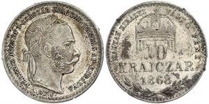 10 Kreuzer Imperio austrohúngaro (1867-1918) / Reino de Hungría (1000-1918) Plata Franz Joseph I (1830 - 1916)