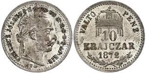 10 Kreuzer Österreich-Ungarn (1867-1918) / Königreich Ungarn (1000-1918) Silber Franz Joseph I (1830 - 1916)