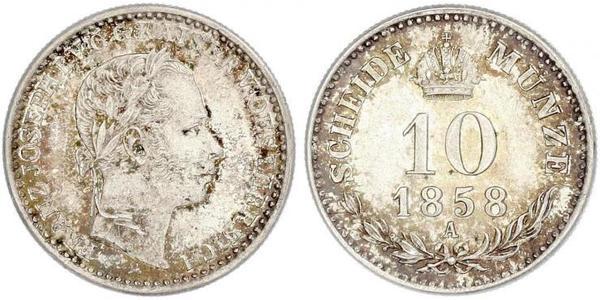 10 Kreuzer Austrian Empire (1804-1867) Silver Franz Joseph I (1830 - 1916)