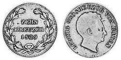 10 Kreuzer Grand Duchy of Baden (1806-1918) Silver Louis I, Grand Duke of Baden (1763 - 1830)