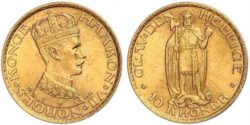 10 Krone 挪威 金 哈康七世  (1872 - 1957)