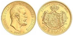 10 Krone 瑞典 金 奧斯卡二世 (1829-1907)