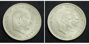 10 Krone 丹麦 銀 弗雷德里克九世 (1899 - 1972) / 瑪格麗特二世 (丹麥) (1940-)