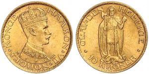 10 Krone Norwegen Gold Haakon VII. (1872 - 1957)