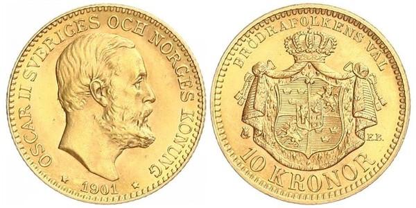10 Krone Schweden Gold Oskar II. (Schweden) (1829-1907)