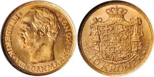 10 Krone Danemark Or Frédéric VIII de Danemark (1843 - 1912)