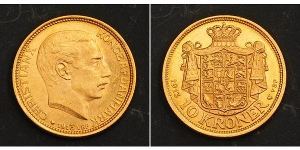 10 Krone Danemark Or Christian X de Danemark (1870 - 1947)