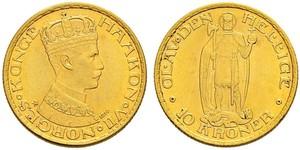 10 Krone Norvège Or Haakon VII de Norvège (1872 - 1957)