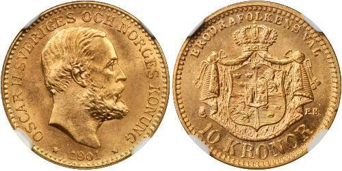 10 Krone Suède Or Oscar II de Suède (1829-1907)