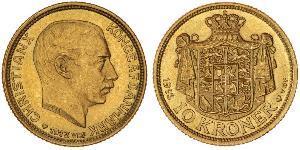 10 Krone Danimarca Oro Cristiano X di Danimarca (1870 - 1947)