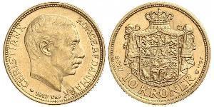 10 Krone Dinamarca Oro Cristián X de Dinamarca (1870 - 1947)