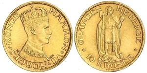 10 Krone Noruega Oro Haakon VII de Noruega (1872 - 1957)