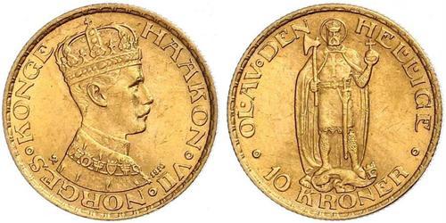 10 Krone Norvegia Oro Haakon VII di Norvegia (1872 - 1957)