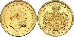 10 Krone Suecia Oro Óscar II de Suecia (1829-1907)