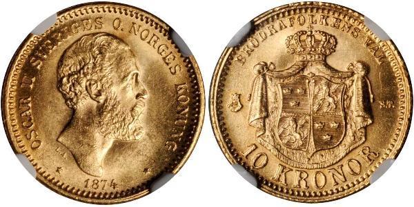 10 Krone Svezia Oro Oscar II di Svezia (1829-1907)