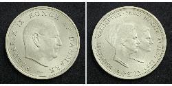 10 Krone Dinamarca Plata Margarita II de Dinamarca (1940-) / Federico IX de Dinamarca (1899 - 1972)
