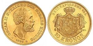 10 Krone / 10 Kronor  Schweden Gold Oskar II. (Schweden) (1829-1907)