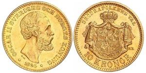 10 Krone / 10 Kronor  Suecia Oro Óscar II de Suecia (1829-1907)