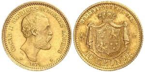 10 Krone / 10 Kronor  Svezia Oro Oscar II di Svezia (1829-1907)