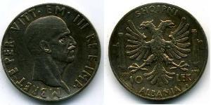 10 Lek 阿尔巴尼亚王国 (1939年-1943年) (1939 - 1943) 銀 维托里奥·埃马努埃莱三世 (1869 - 1947)