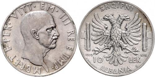 10 Lek Albanian Kingdom (1939-1943) Silver Victor Emmanuel III of Italy (1869 - 1947)