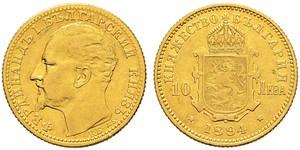 10 Lev Bulgarie Or Ferdinand I de Bulgarie (1861 -1948)