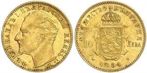 10 Lev Bulgaria Oro Fernando I de Bulgaria (1861 -1948)