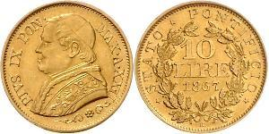 10 Lira 教皇国 (754 - 1870) 金 Pope Pius IX (1792- 1878)