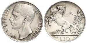 10 Lira 意大利王國 (1861-1946) 銀 维托里奥·埃马努埃莱三世 (1869 - 1947)