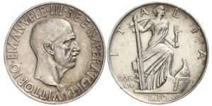 10 Lira 意大利王國 (1861-1946) 銀 Vittorio Emanuele III (1869 - 1947)