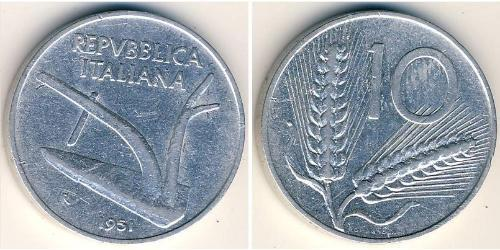 10 Lira Italia (1946 - ) Aluminio