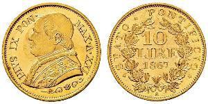 10 Lira Kirchenstaat (752-1870) Gold Pius IX (1792- 1878)