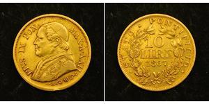 10 Lira Papal States (752-1870) Gold Pope Pius IX (1792- 1878)