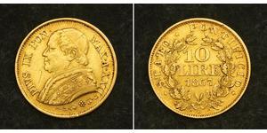 10 Lira États pontificaux (752-1870) Or Pie IX (1792- 1878)
