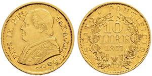 10 Lira Stato Pontificio (752-1870) Oro Papa Pio IX (1792- 1878)