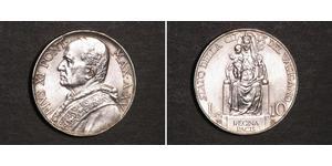 10 Lira Vatican (1926-) Plata Pope Pius XI (1857 - 1939)