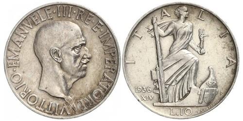 10 Lira Kingdom of Italy (1861-1946) Silber Vittorio Emanuele III (1869 - 1947)