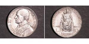 10 Lira Vatican (1926-) Silver Pope Pius XI (1857 - 1939)