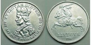 10 Litas Lituanie (1991 - ) Argent Vytautas le Grand