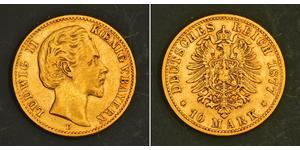 10 Mark 巴伐利亞王國 (1806 - 1918) 金 路德维希二世 (巴伐利亚)