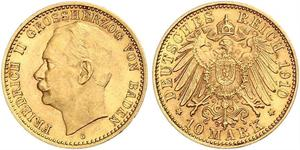 10 Mark 巴登大公國 (1806 - 1918) 金 弗里德里希二世 (巴登)