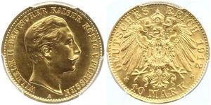 10 Mark 普魯士王國 (1701 - 1918) 金 威廉二世 (德国)