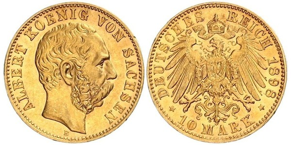 10 Mark 萨克森王国 (1806 - 1918) 金 阿尔贝特 (萨克森)