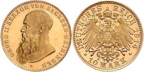 10 Mark 萨克森-迈宁根 (1680 - 1918) 金 Georg II, Duke of Saxe-Meiningen