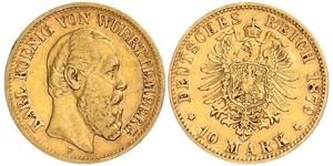 10 Mark Kingdom of Württemberg (1806-1918) 金 卡尔一世 (符腾堡)