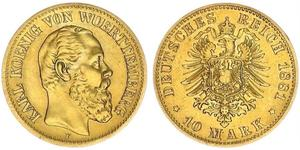 10 Mark Kingdom of Württemberg (1806-1918) 金 卡尔一世 (符腾堡)